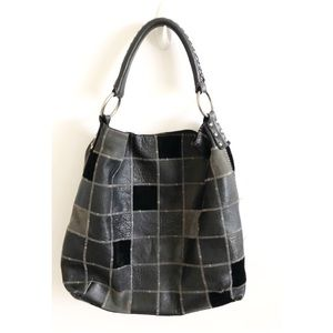 Lucky Brand Black Leather Handbag Purse Patchwork